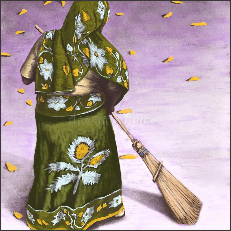 Sweeping up leaves illustration. stock photos