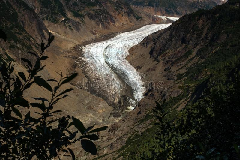 A sweeping view of the majestic Salmon Glacier in British Columbia, Canada royalty free stock photography