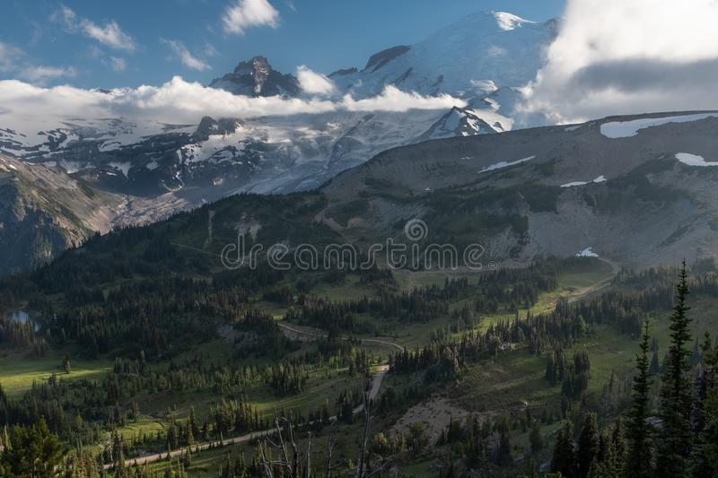 A sweeping view of the valley at Mount Rainier National Park, Washington, USA royalty free stock image