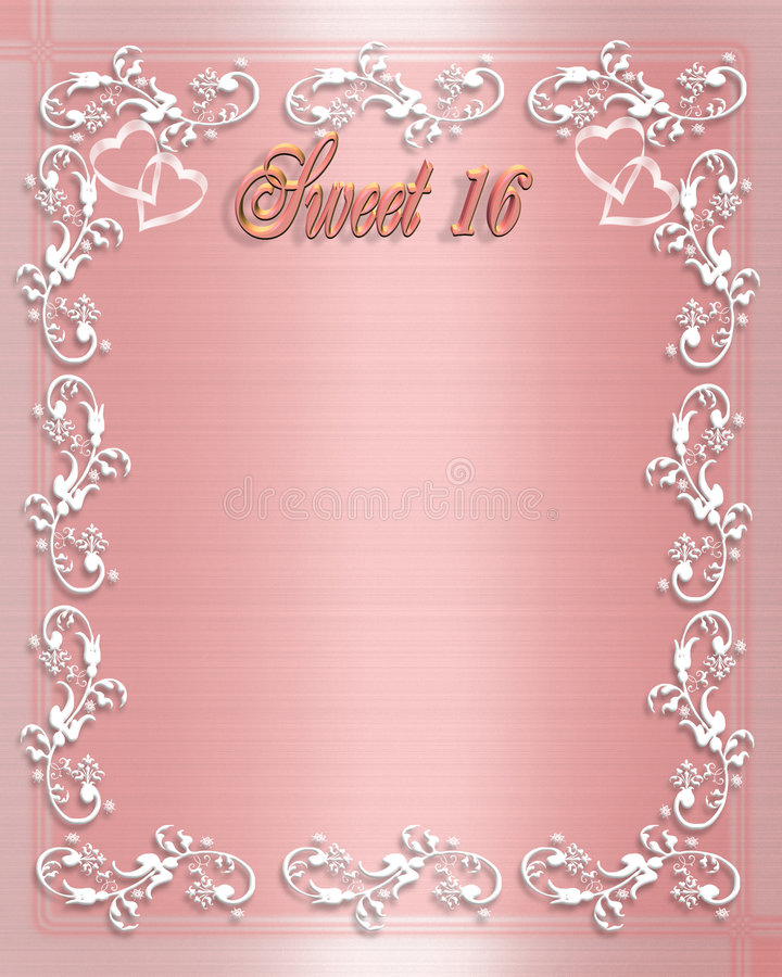 Sweet 16 birthday invitation stock illustration for Sweet sixteen program template