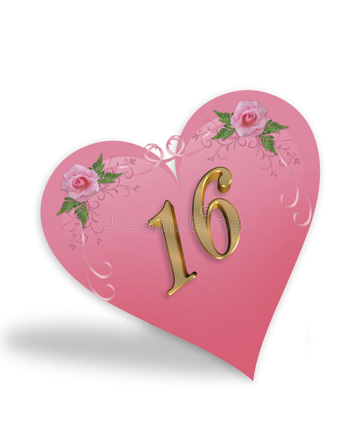 Sweet 16 pink heart graphic royalty free stock photos
