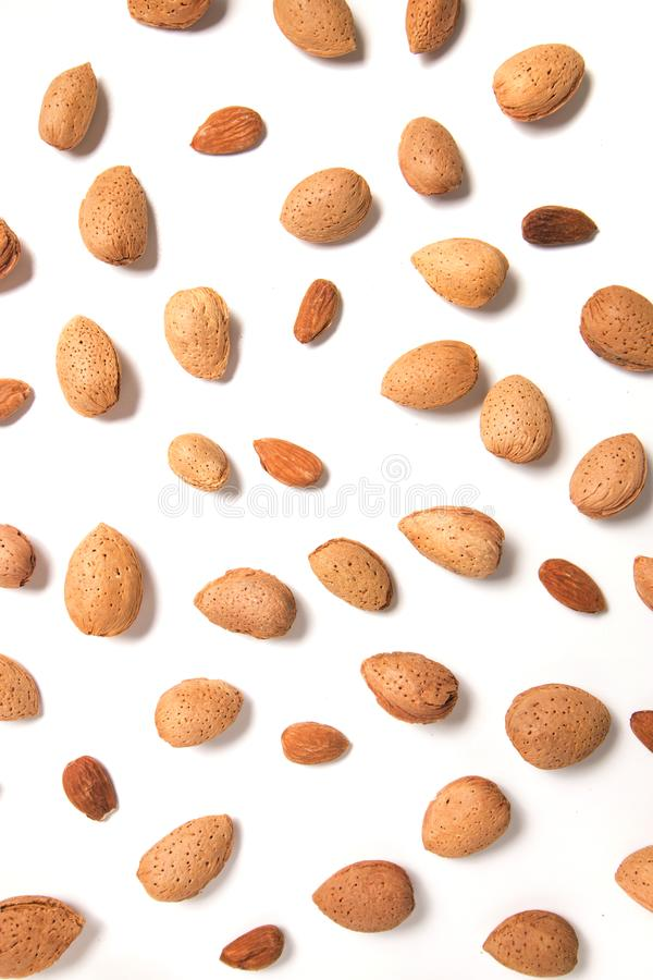 Sweet almond drupes. Isolated on a white background royalty free stock photography