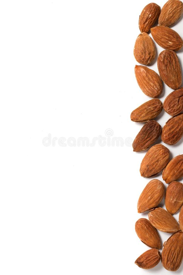 Sweet almond drupes. On a white background royalty free stock photo