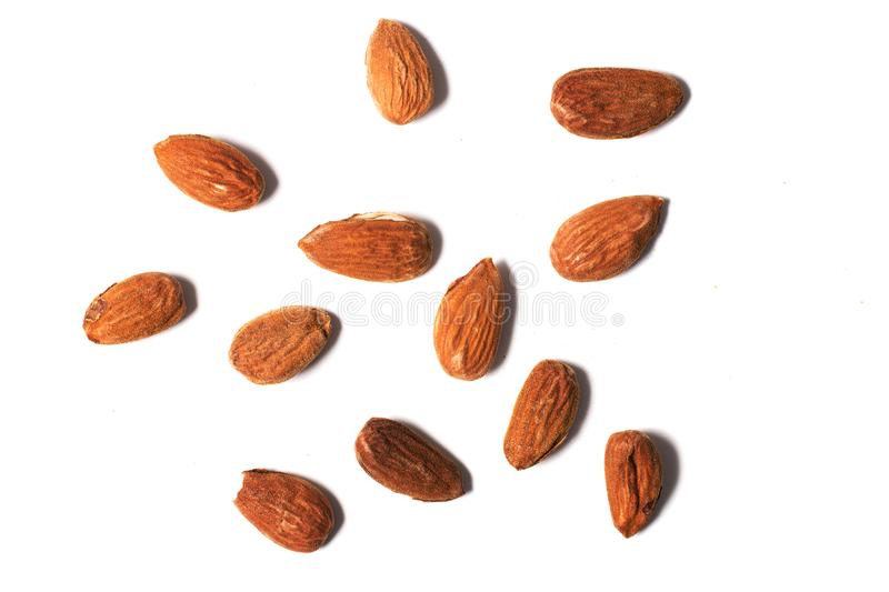 Sweet almond drupes. On a white background stock image