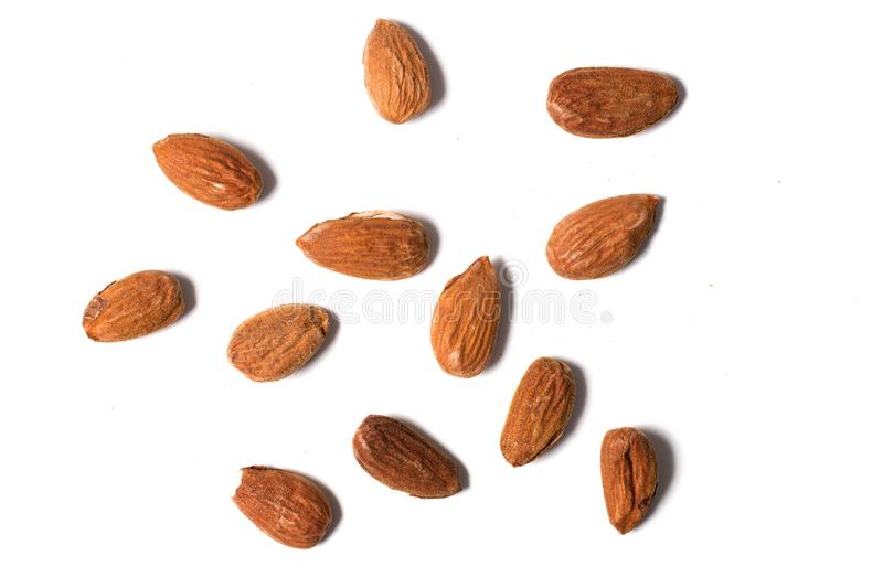 Sweet almond drupes. On a white background royalty free stock photos