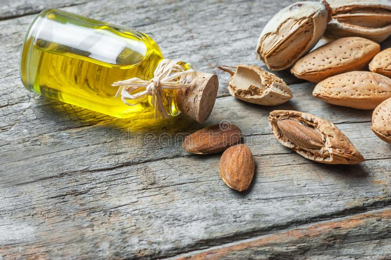 Sweet Almond oil in glass of bottle. Almonds nuts and oil concept. Great for skin health.Almond in nutshell. Organic herbal medicine for many diseases. Prunus royalty free stock photos