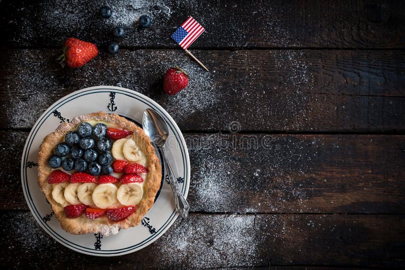 Sweet American pie with vanilla and berry fruits stock photos