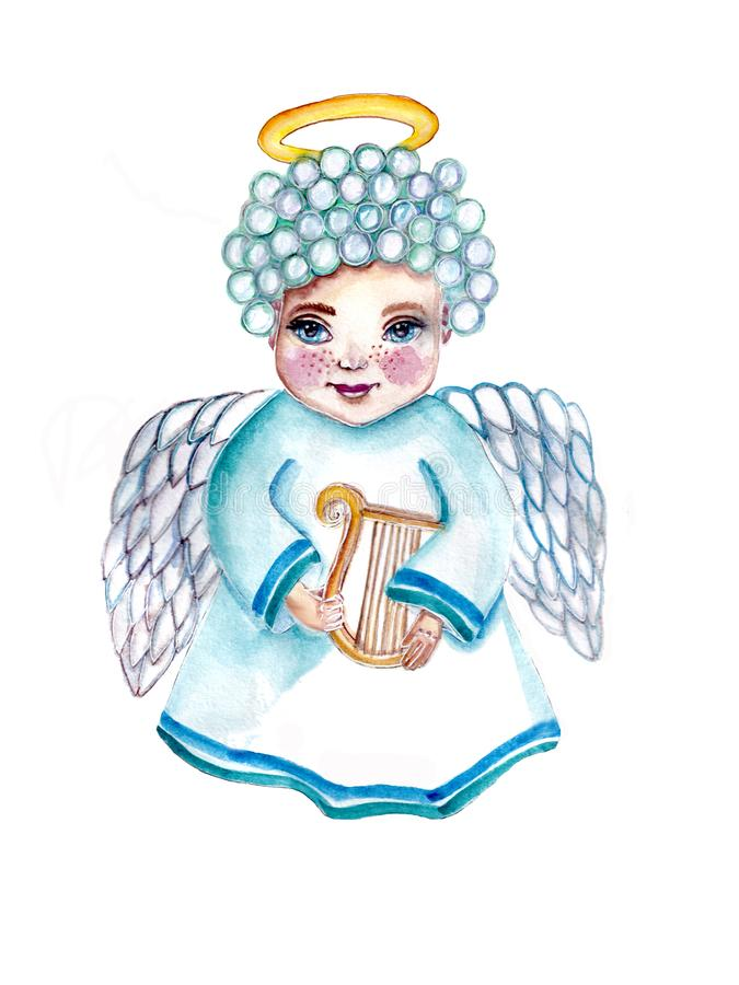 Sweet angel in blue color holding a lyre royalty free stock image