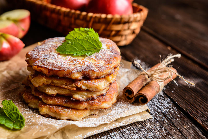 Sweet apple and curd pancakes royalty free stock photo