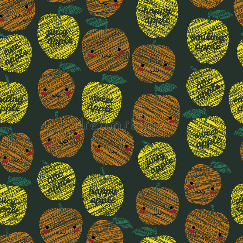 'Sweet apple, cute apple' typography. Seamless pattern. Seamless pattern with scratched smiling apples, summer harvest background. Japanese manga style vector illustration
