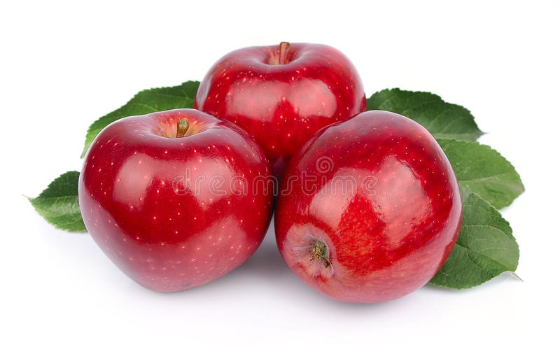 Download Sweet apple with leafs stock image. Image of isolated - 27096799