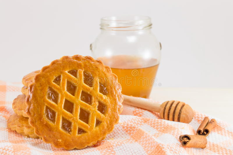 Sweet apple pie round cookies. With fruit, cinnamon and honey royalty free stock photo