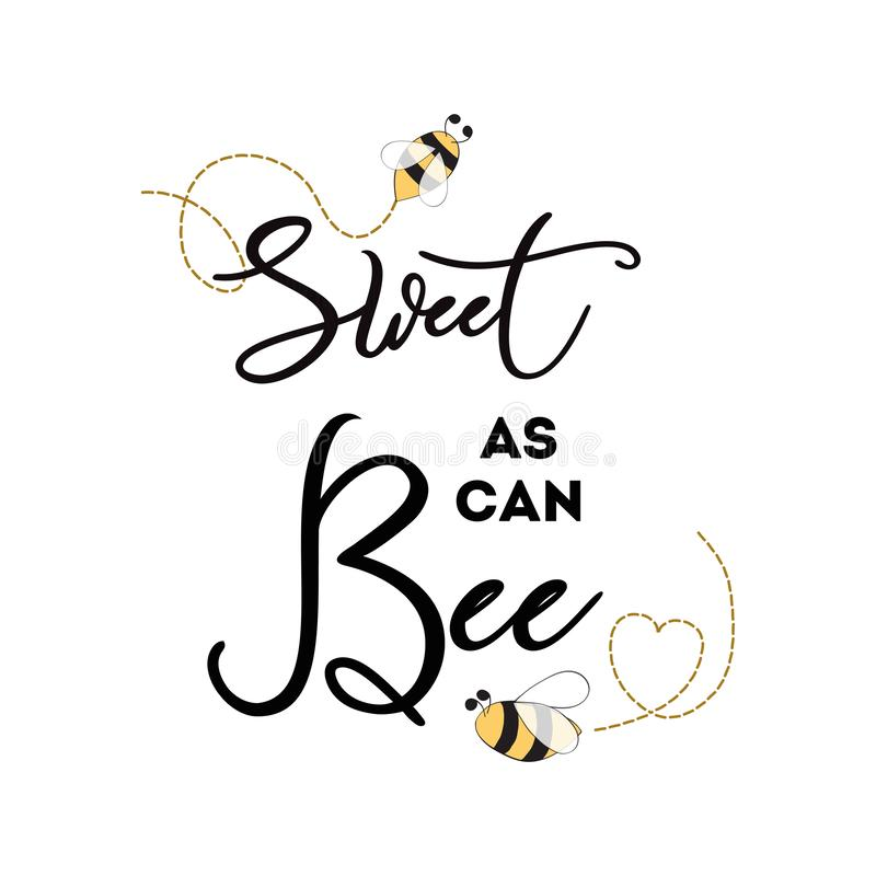 Sweet as can Bee banner bee on white background Baby Shower Kids birthday banner template. Sweet as can Bee phrase with bee on white background Cute card design stock illustration