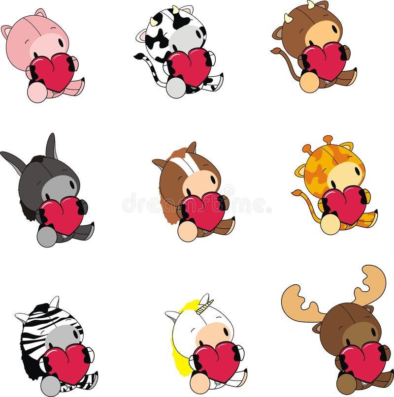 Sweet baby animals love heart cartoon set stock illustration