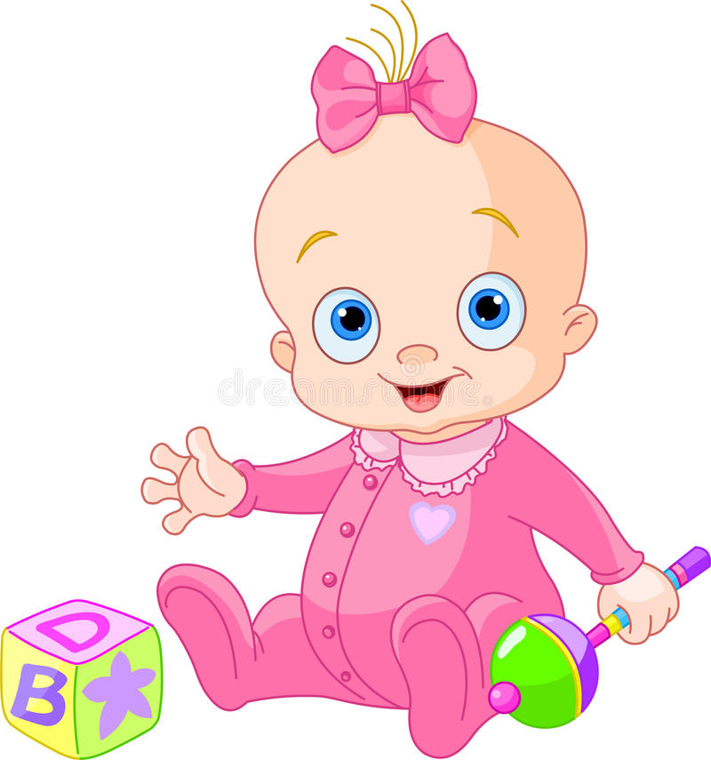 Download Sweet baby girl stock vector. Image of cute, rattle, child - 25334010
