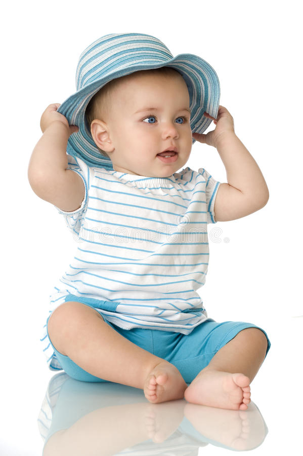 Download Sweet baby with hat stock image. Image of small, white - 25600899