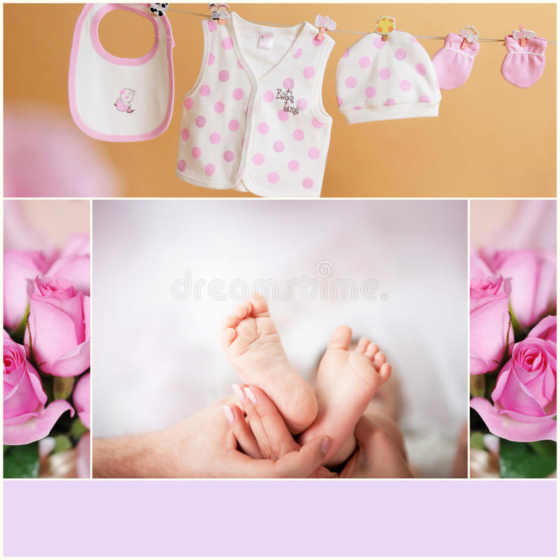 Sweet baby. Little baby's legs. collage of photos royalty free stock photography