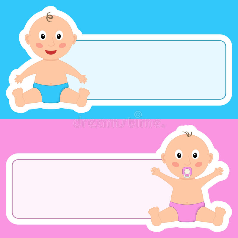 Sweet Baby Newborn with Blank Banner royalty free illustration