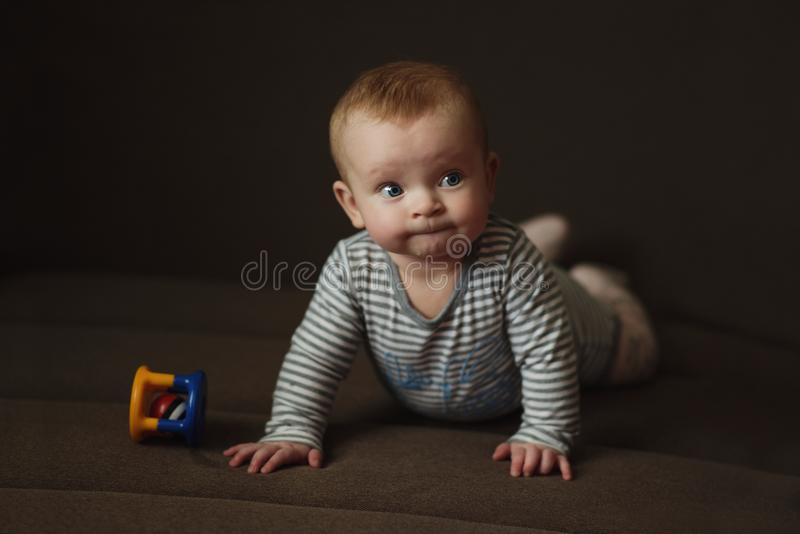 Sweet baby with toy stock images
