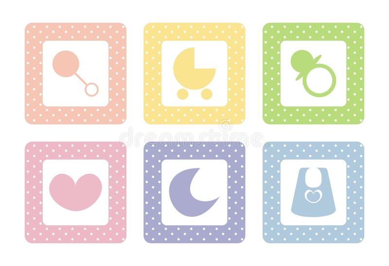 Sweet Baby Vector Icons With Polka Dots Royalty Free Stock Images