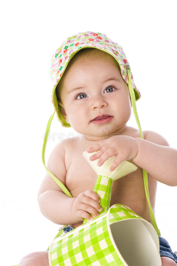Download Sweet Baby With Watering Can Stock Image - Image: 25600465