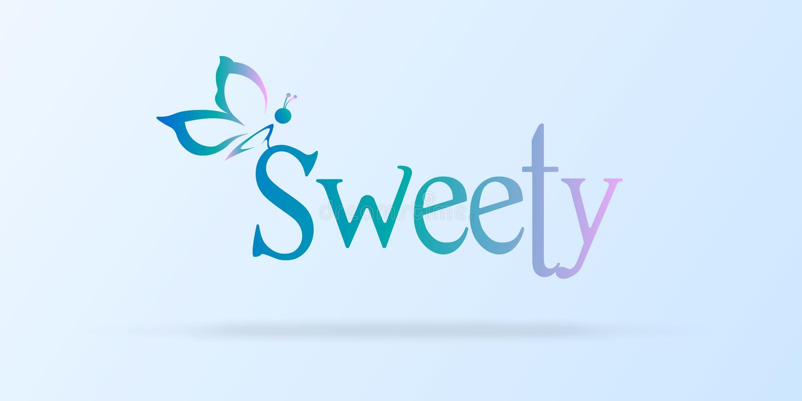 Sweet background with a butterfly silhouette and cute stock illustration