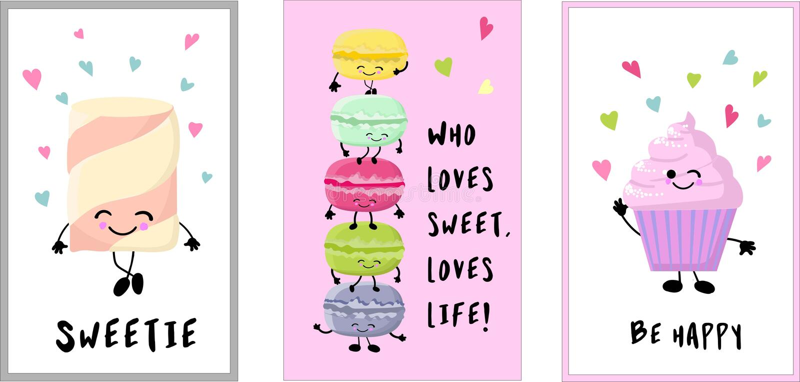 Sweet bakery card set. Vector illustration. .Cards for kendibar. Cartoon image with big eyes. Comic character in kawaii style. Sweet bakery card set. Vector vector illustration