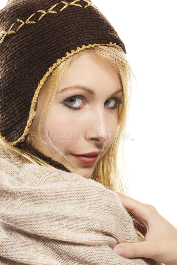 Sweet beautiful blonde woman wearing winter fashio royalty free stock photos