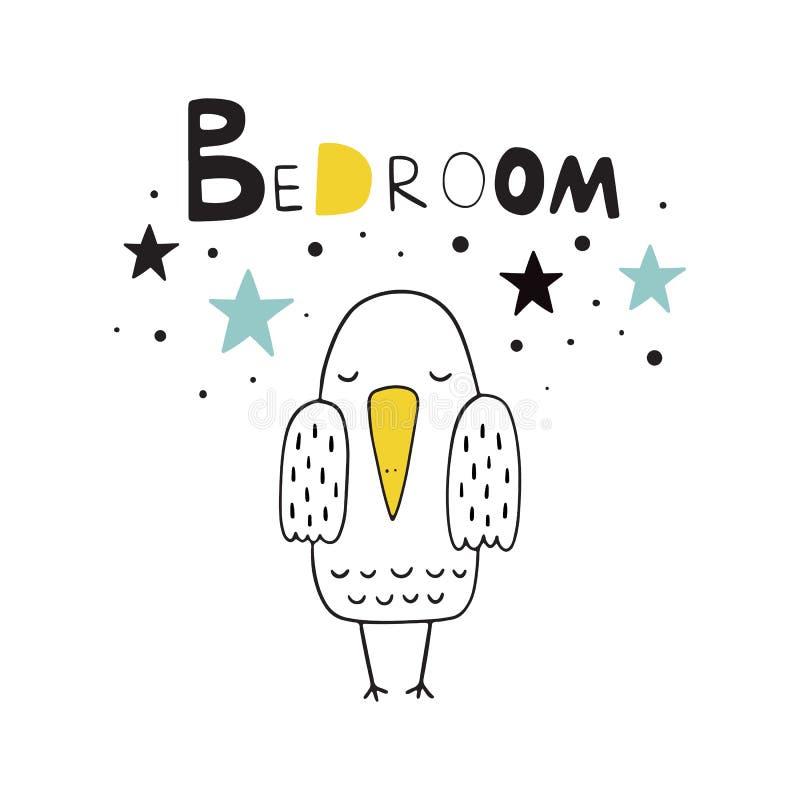 Sweet bird. Vector illustration in Scandinavian style. Illustration for the bedroom. The inscription in the Scandinavian style. royalty free illustration