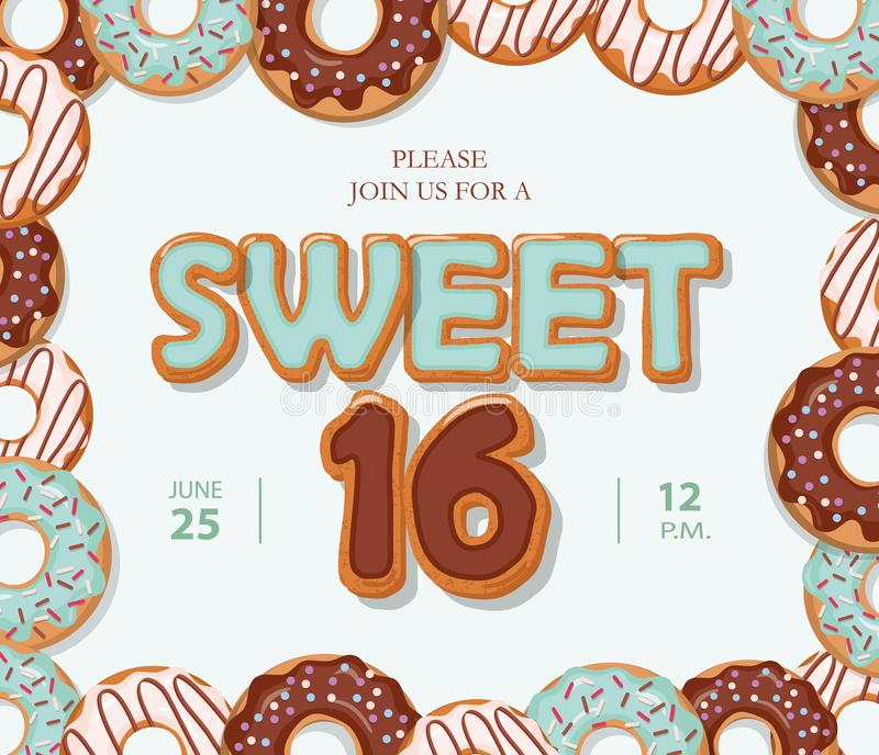 Sweet 16 Birthday Card Cartoon Hand Drawn Letters And Donut Frame