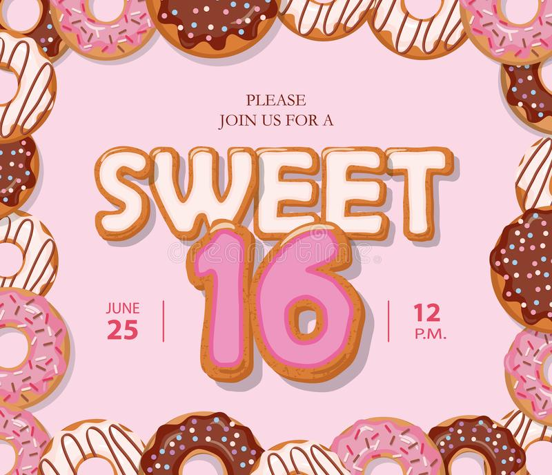 Sweet 16 birthday card cute cartoon letters and donut frame pastel download sweet 16 birthday card cute cartoon letters and donut frame pastel pink colors bookmarktalkfo Choice Image