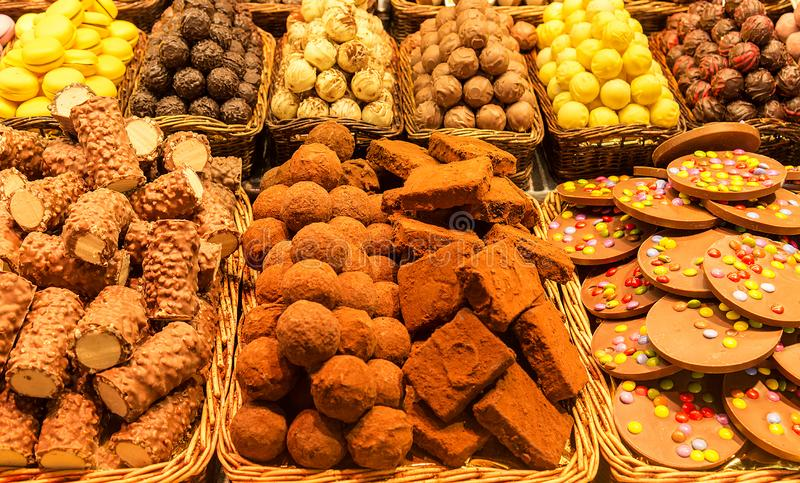 Sweet biscuits on the Boqueria Market in Barcelona, Spain stock image