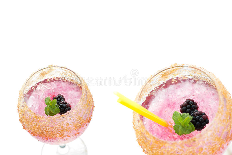 Sweet blackberry cocktail drink isolated stock photo
