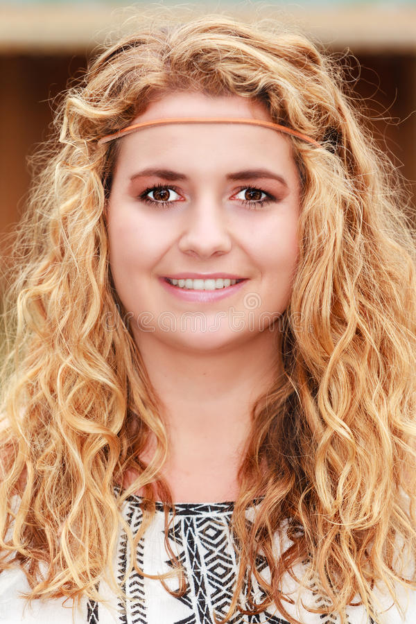 Sweet blond curly hair stock photo