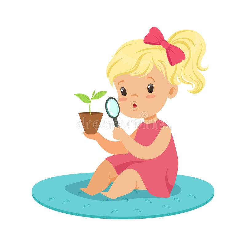 Sweet blonde little girl examining a plant through a magnifying glass, preschool educational activities cartoon vector vector illustration