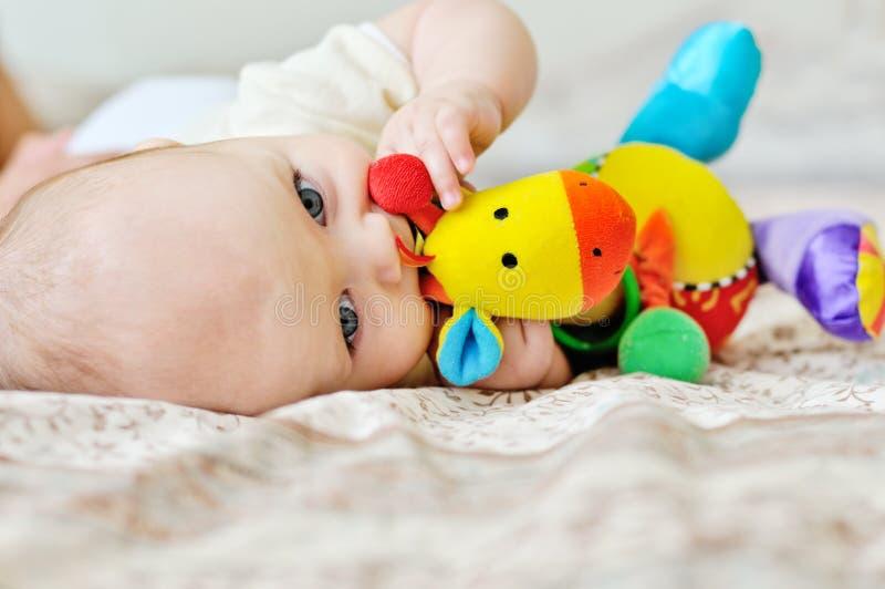 Sweet blue-eyed baby stock image
