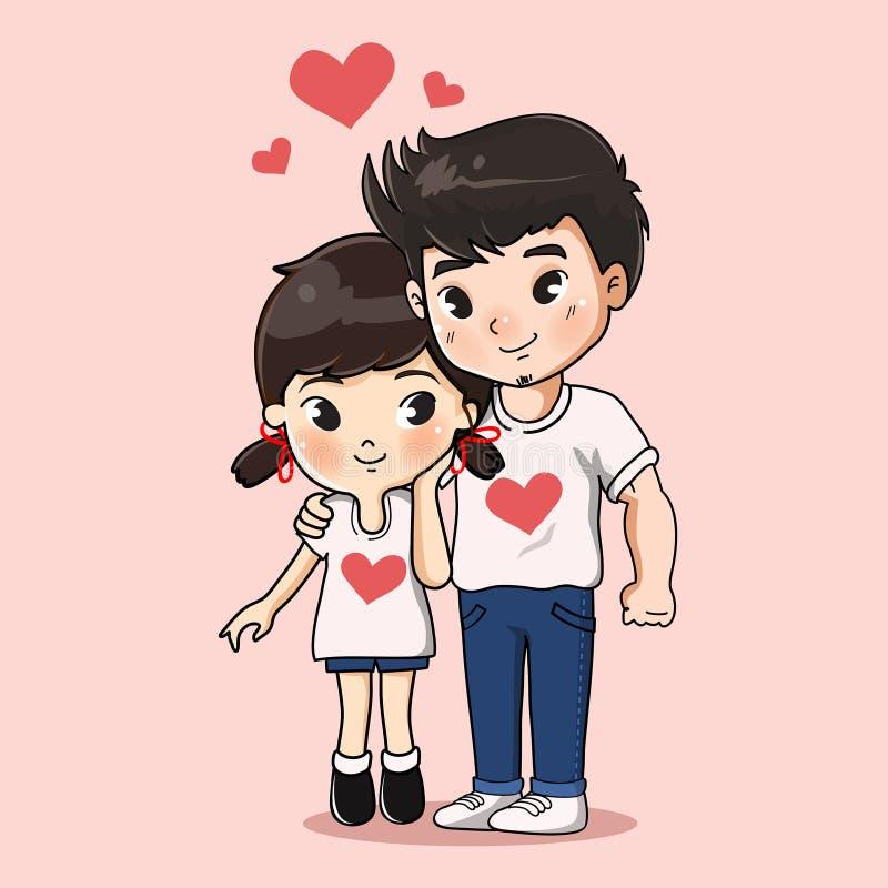 Sweet boy and girl hug together. royalty free illustration