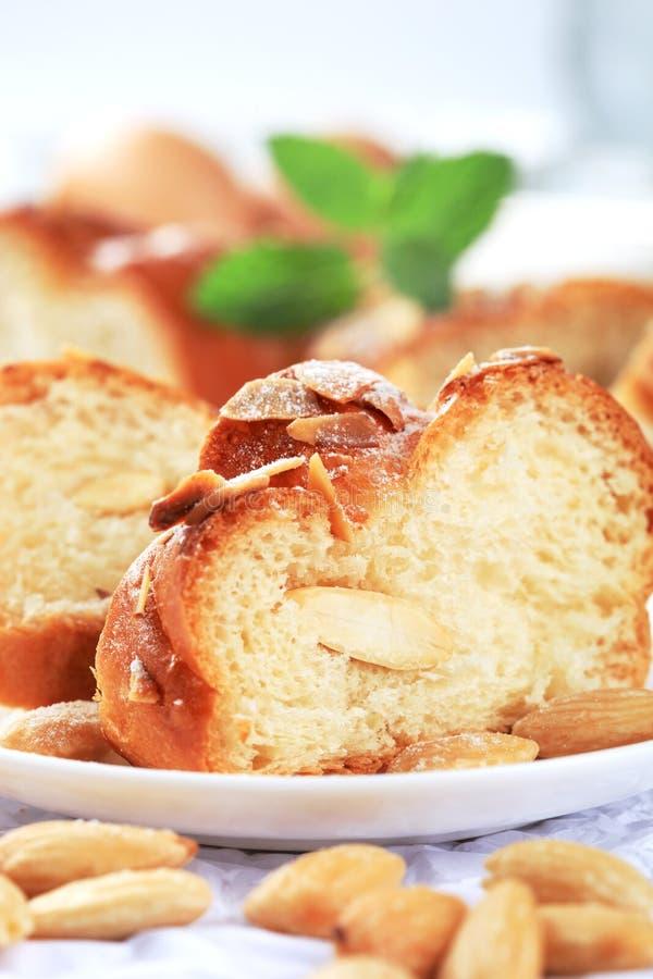 Sweet braided bread stock photos
