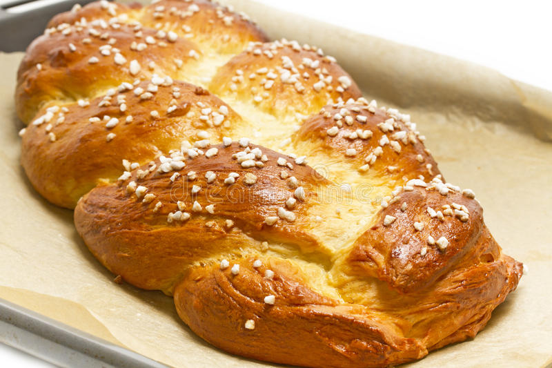 Download Sweet Braided Bread On A Baking Tray Stock Image - Image: 24358757
