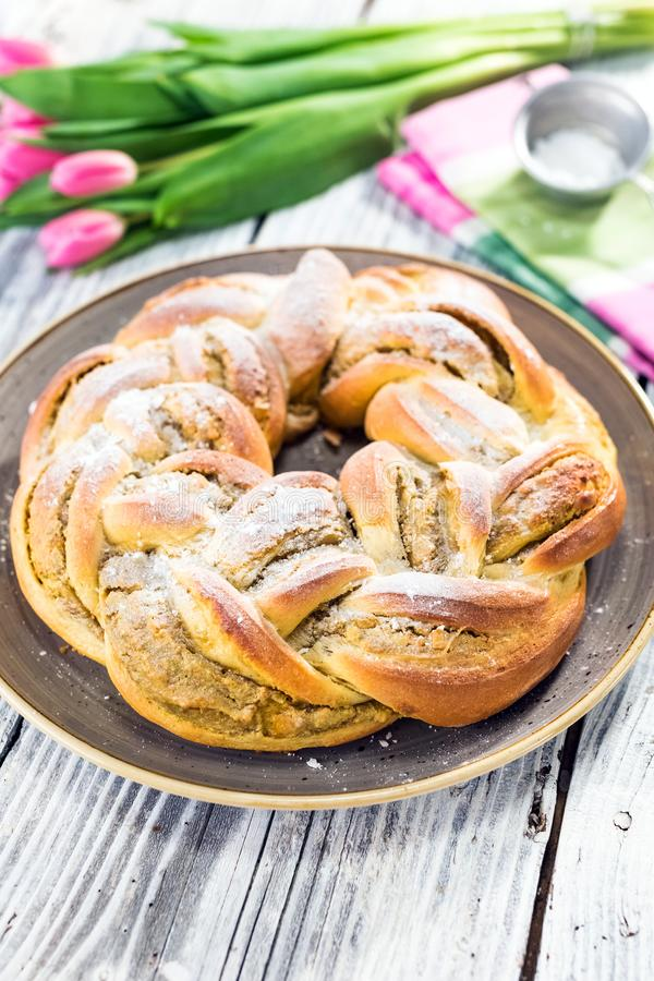 Sweet braided easter bread royalty free stock photos