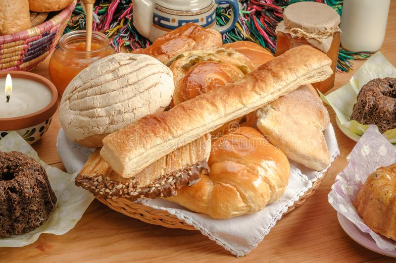 Sweet bread assorted traditional Mexican bakery stock photos