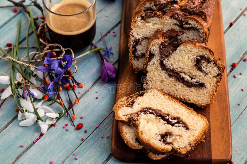 Sweet bread with chocolate. East European sweet bread for Easter - spring holliday - Cozonac - Romanian traditional sponge cake stock photo