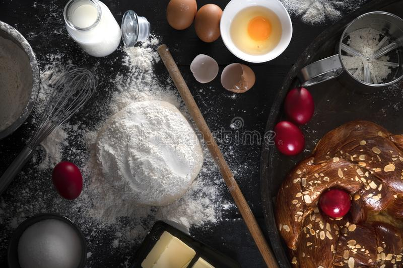 Sweet bread Greek recipe for easter. Fresh ingredients, eggs, milk, dough, butter, sugar and everything for this recipe stock images