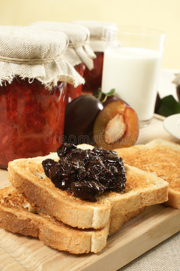 Sweet breakfast. Toast with home made jam stock images