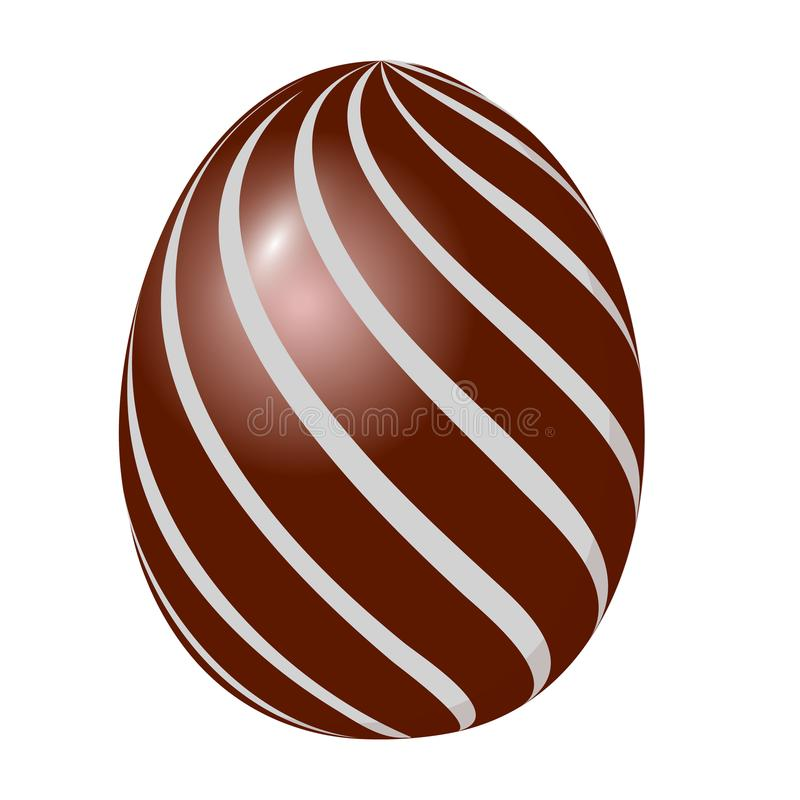 Sweet brown chocolate egg. Isolated on white background. Vector vector illustration