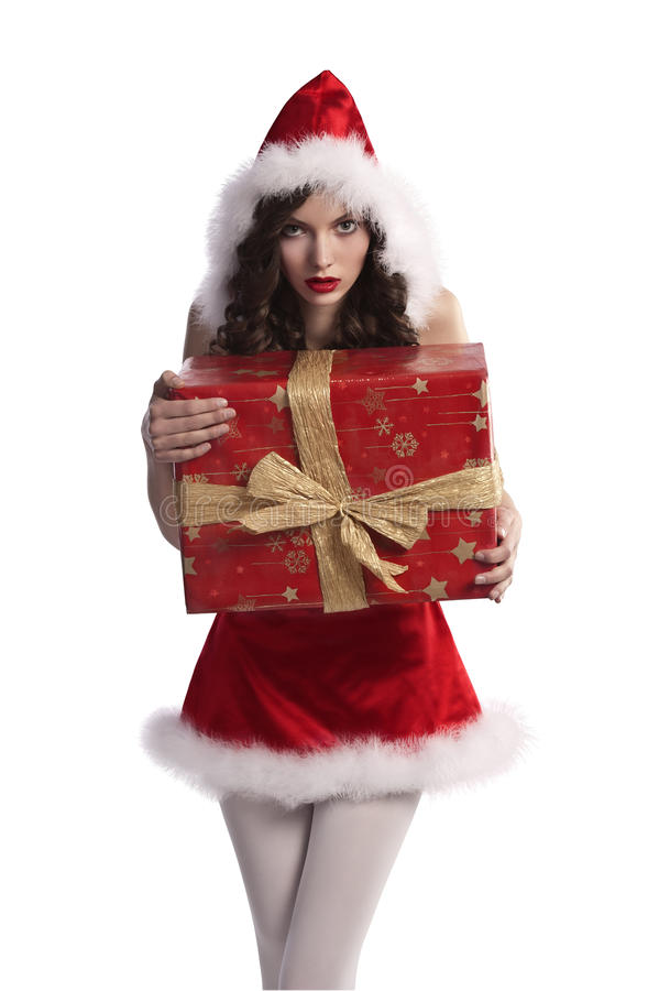 Sweet brunette curled girl in santa claus dress stock photos