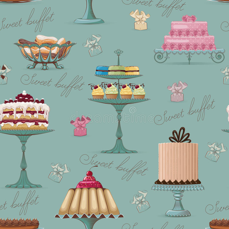 Sweet buffet background royalty free illustration