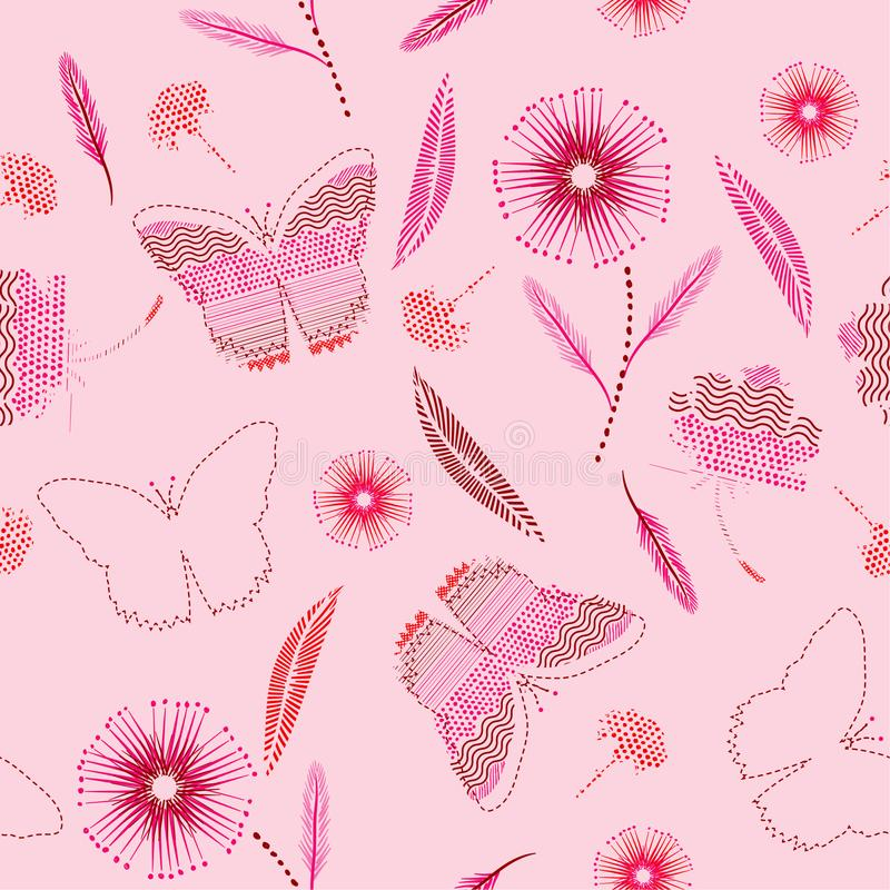 Sweet butterflies and flower in hand drawn paint polka dots ,brush,line,stripe,dash pattern with sketch mood seamless pattern. Vector on light pink background stock illustration