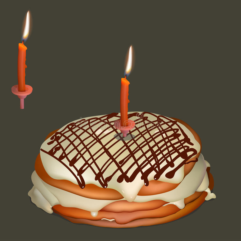 Sweet cake with butter cream and burning candle. Realistic vector illustration royalty free illustration
