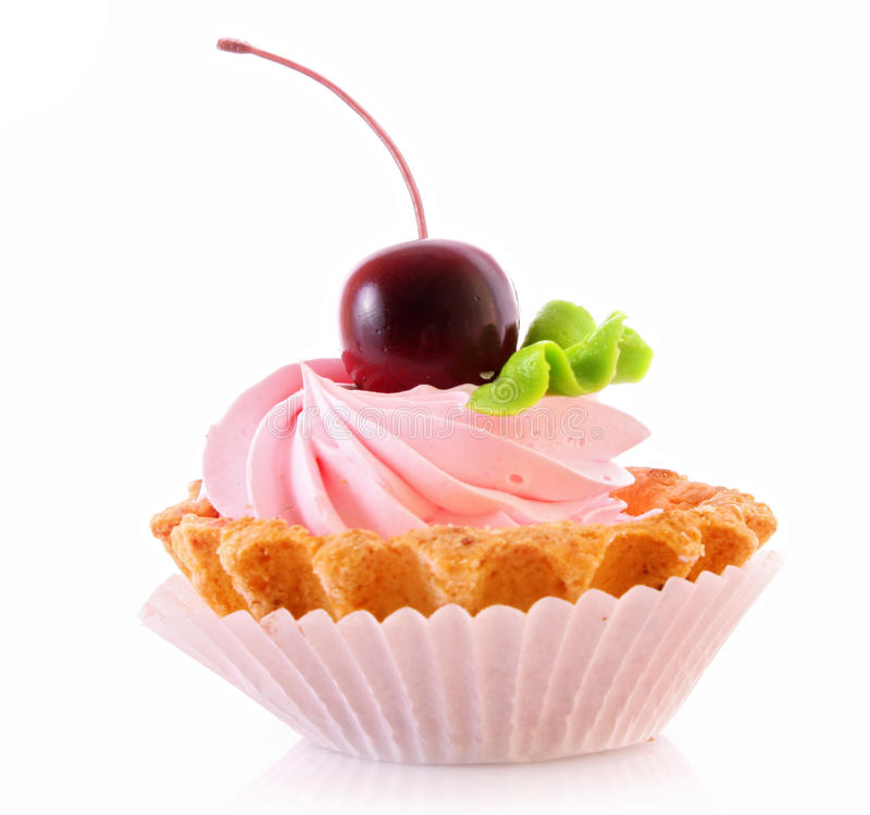 Sweet cake with cherry. Isolated on white royalty free stock photography